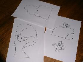 reproduire 3 dessins qui seront placés dans les angles
