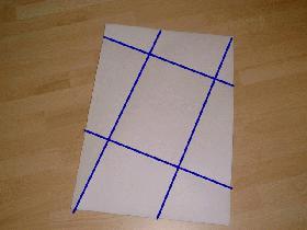 puis déplier  <br /> vous obtenez ainsi les marques des plis (marqués ici en bleu sur la photo)